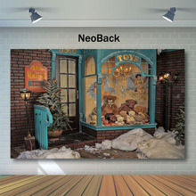 Neoback Christmas Backdrop Gifts Toy Bear Store Photography Backdrops Snow Children backgrounds for photo studio