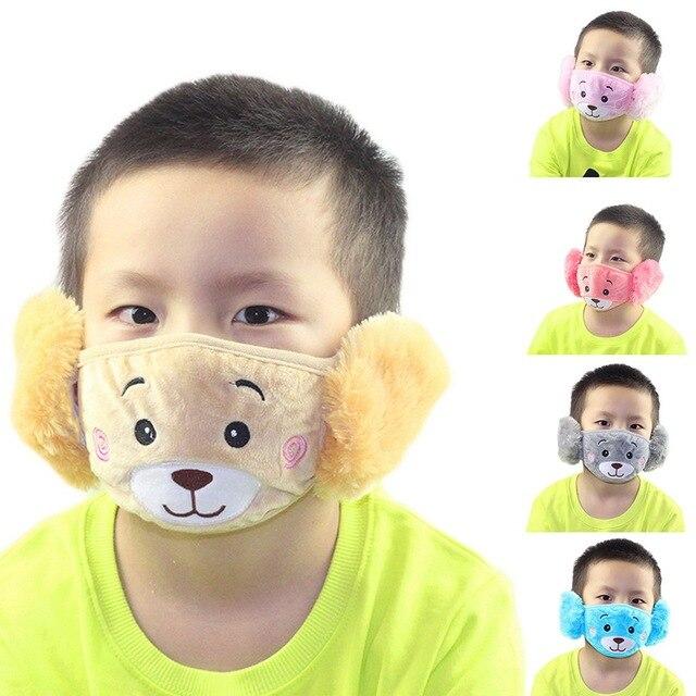 Cute bear Ear Protective Kid Mouth Mask Flu Windproof Mouth-muffle Anti Dust Winter Masks Children Anti Haze Cotton Face Mask 5