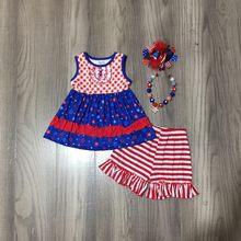 Girlymax julho 4th verão americano bebê meninas crianças roupas outfits listra shorts estrelas topo algodão babados combinar acessórios