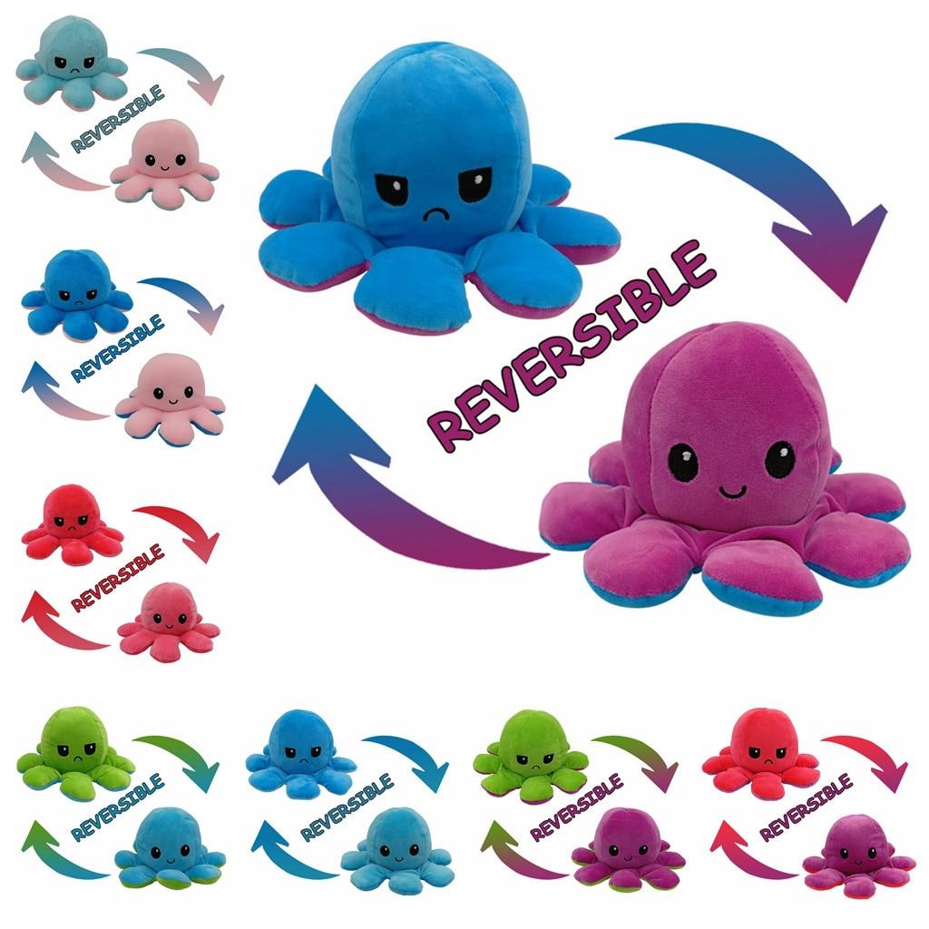 Octops geri dönüşümlü bebek çift taraflı çevirme ahtapot peluş oyuncak çocuk çocuklar için doğum günü hediyesi dolması dolgulu peluş çocuk Octops oyuncak