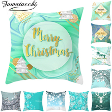 Fuwatacchi Green Christmas Deer Pillow Dream Snow Elk Pattern Covers Pillowcases Home Sofa Chair Decorative Cushion Covers 45x45