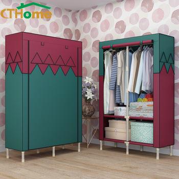 Simple Cloth Steel Tube Rough Reinforced Double Assembly Steel Frame Large Size Students Fabric Wardrobe Closet