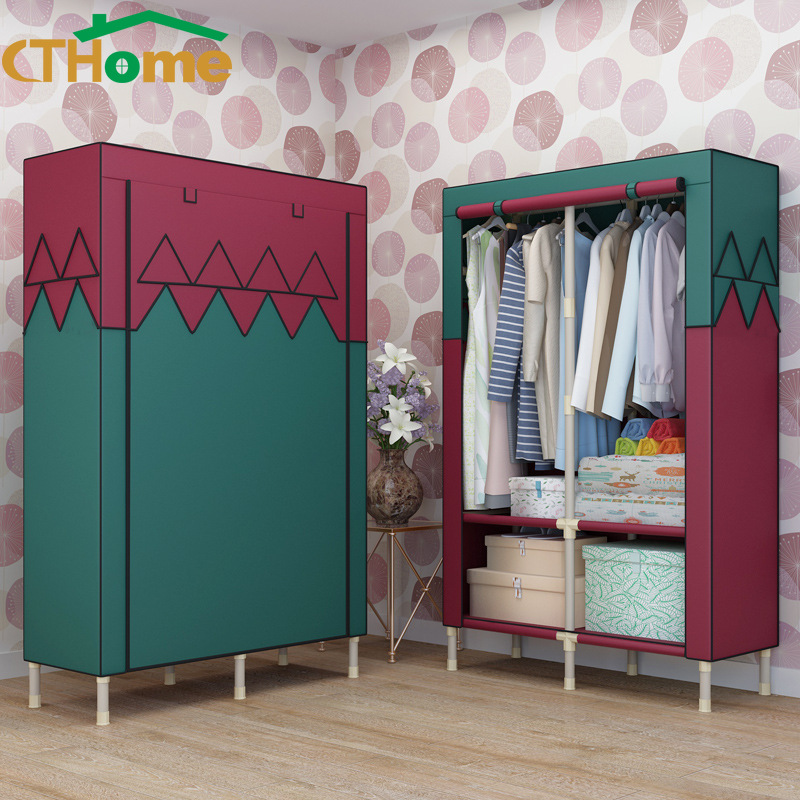 Simple Cloth Steel Tube Rough Reinforced Double Assembly Steel Frame Large Size Students Fabric Wardrobe font