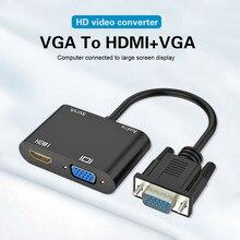 Vga para hdmi-divisor vga compatível com conversor de áudio de 3.5mm suporte display duplo para projetor de computador hdtv adaptador vga multi-port