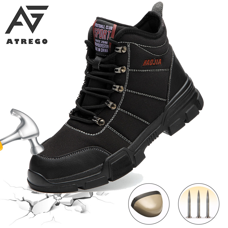 AtreGo Men's Safety Shoes Waterproof Steel Toe Bulletproof Construction Shoes Oxford Canvas Safety Boots Leather Work Boots image