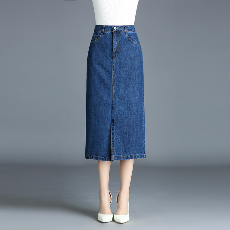 Cowboy Skirt Mid-length 2017 Autumn And Winter Denim Skirt High-waisted Simple Slit-Front A- Line Skirt Large Size