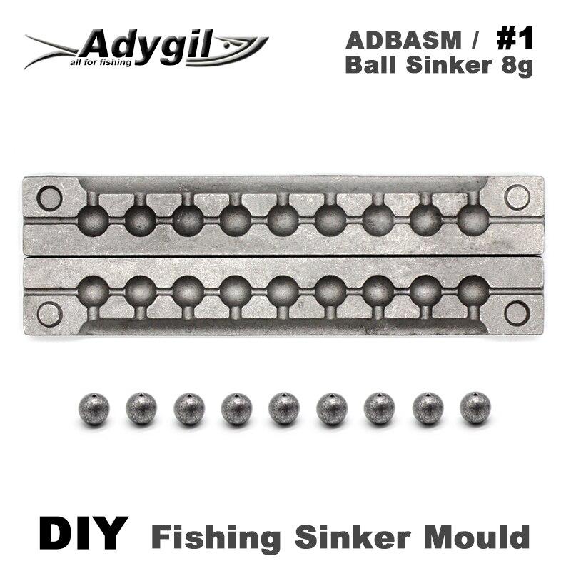 Adygil DIY Fishing Ball Sinker Mould ADBASM/#1 Ball Sinker 8g 9 Cavities