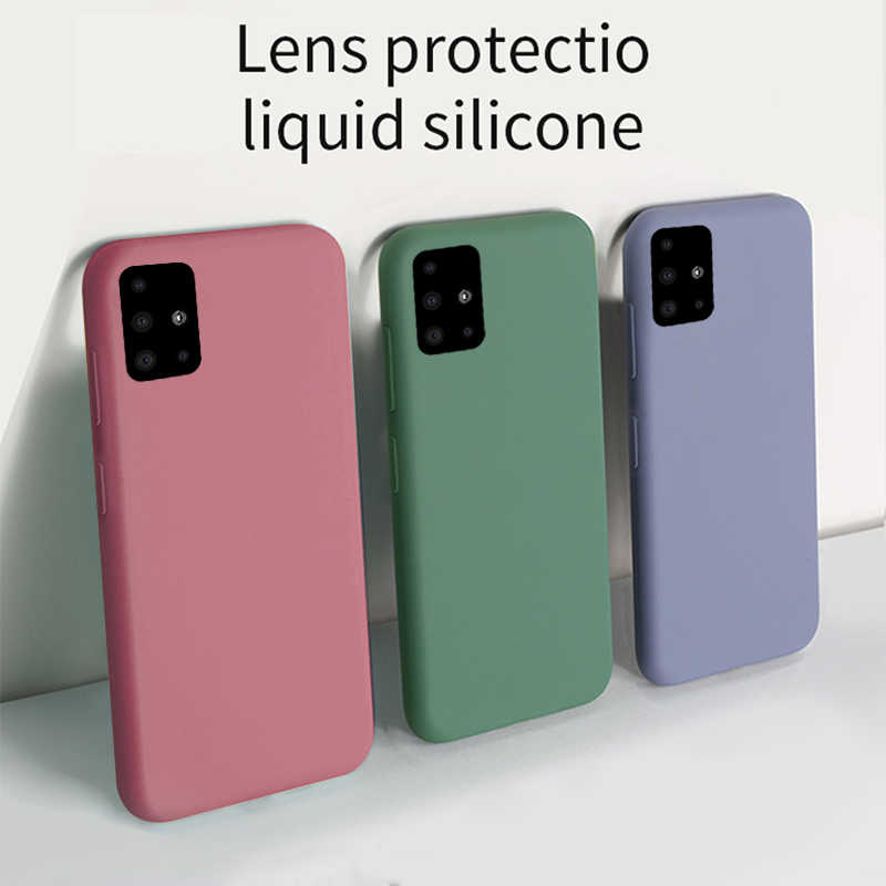 Para Samsung A50 A70 A51 A71 S8 S9 S10E S20 Mais Líquido Silicone Suave Tampa Do Caso Para O Galaxy Note 8 9 10 Plus A20 A30 A40 S7 Borda