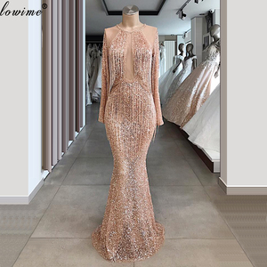 Image 3 - 반짝 이는 샴페인 Tassels 댄스 파티 드레스 두바이 골치 아픈 건 이브닝 드레스 여성 파티 밤 긴 공식 이벤트 가운 Vestidos Largos