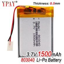 1/2/4pcs High Quality 3.7V 803040 1500mAh Li-ion Polymer Lithium Battery 3.7 Volt Lithium Ion Li-po Li-polymer Batteries Cells 1 2 4pcs 503035 3 7v 500mah lithium polymer battery 3 7v volt li po ion lipo rechargeable batteries for dvd gps navigation