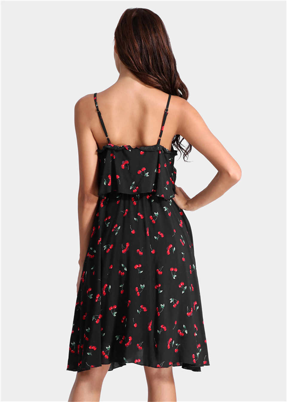 Elimiiya Fashion Wanita Selempang Cherry Cetak Gaun Elegan Tanpa Lengan Besar Pendulum Gaun Wanita Sifon Pakaian