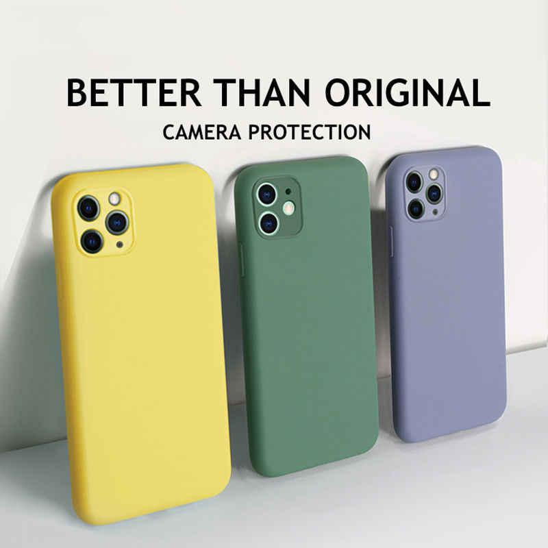 キャンディーカラーの携帯電話ケース iPhone 11 11 プロマックス液状シリコーン無地バック iphone 11 ケースソフト TPU ミッドナイトグリーンケース