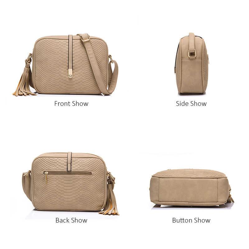 Más real pequeña bolsa de hombro para las mujeres, bolsos de mensajero, mujer retro de cuero de la PU bolso con borlas Mujer bolso