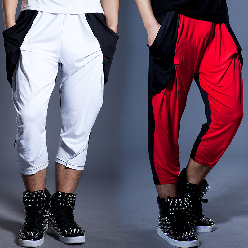 Stage Costume Men's Casual Pants Hit Color Stitching Male Harem Pants Feet Pants Nightclub Bar Dj Ds Dancer Rave Wear DNV12408