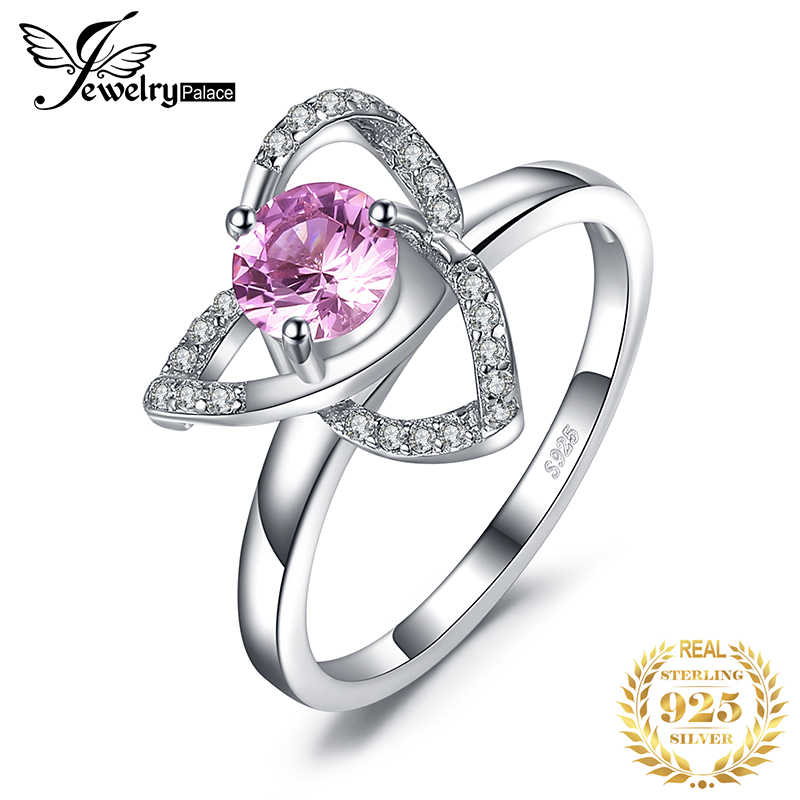 JewelryPalace Trinity Knot 3 Petal Created Pink Sapphire Ring 925 Sterling Silver For Women As Beautiful Gifts New Hot Sale