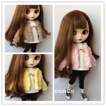1/6 fashion doll clothes blyth suit leather jacket for 30cm doll blyth accessories to pullip doll clothes barbie кукла pullip little dal doll panty
