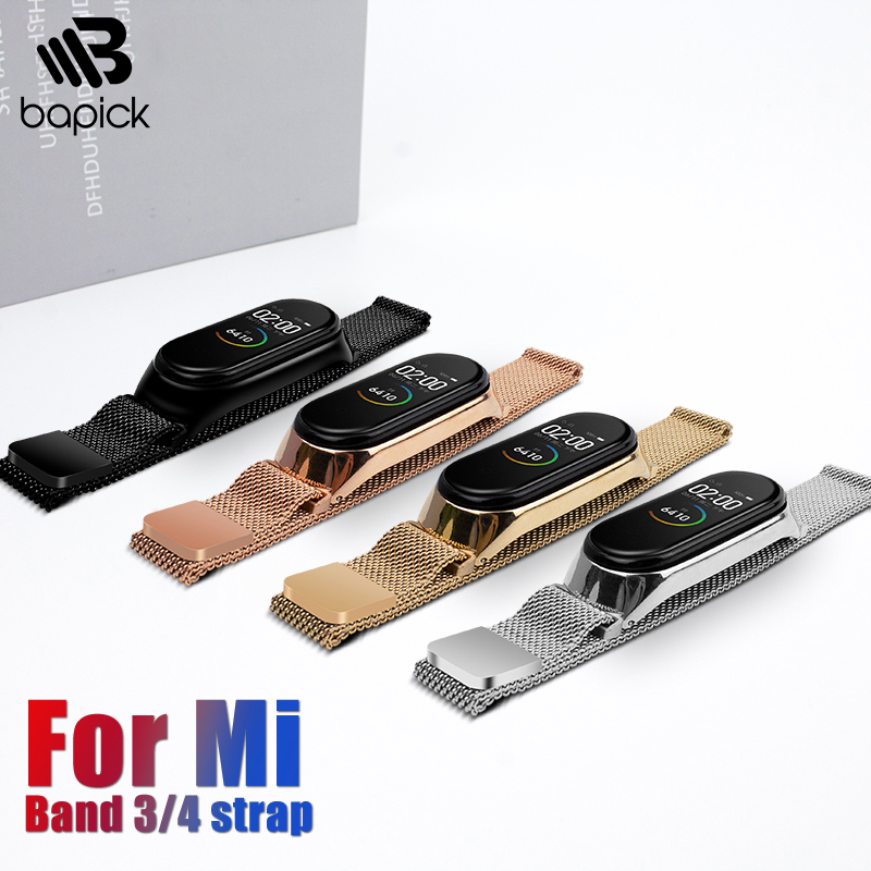BAPICK Stainless Steel Metal Strap For Xiaomi Mi Band 4 3 Strap Smart Watch Band Mi Band 3 4 Bracelet Pulseira Miband 4 3 Strap