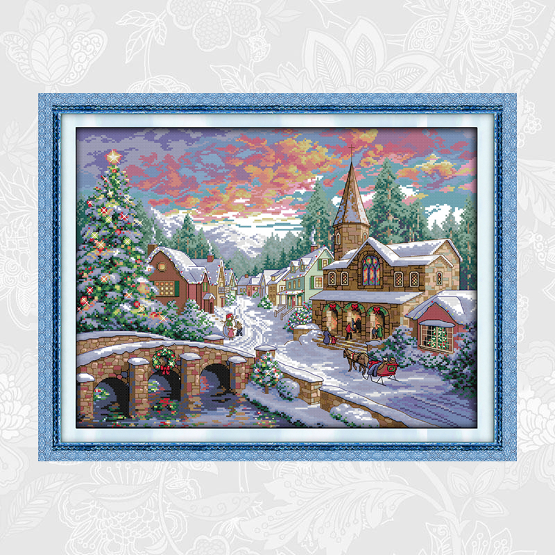 Snow Scene Series Painting Counted Printed on Canvas 11CT 14CT Chinese Cross Stitch kits Handwork Needlework Embroidery Sets in Package from Home Garden