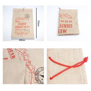 Image 5 - Big Size Merry Christmas Linen Gift Bag 2019 Santa Claus Sacks Drawstring Candy Bag Natal Noel New Year Xmas Home Decor Gift Bag
