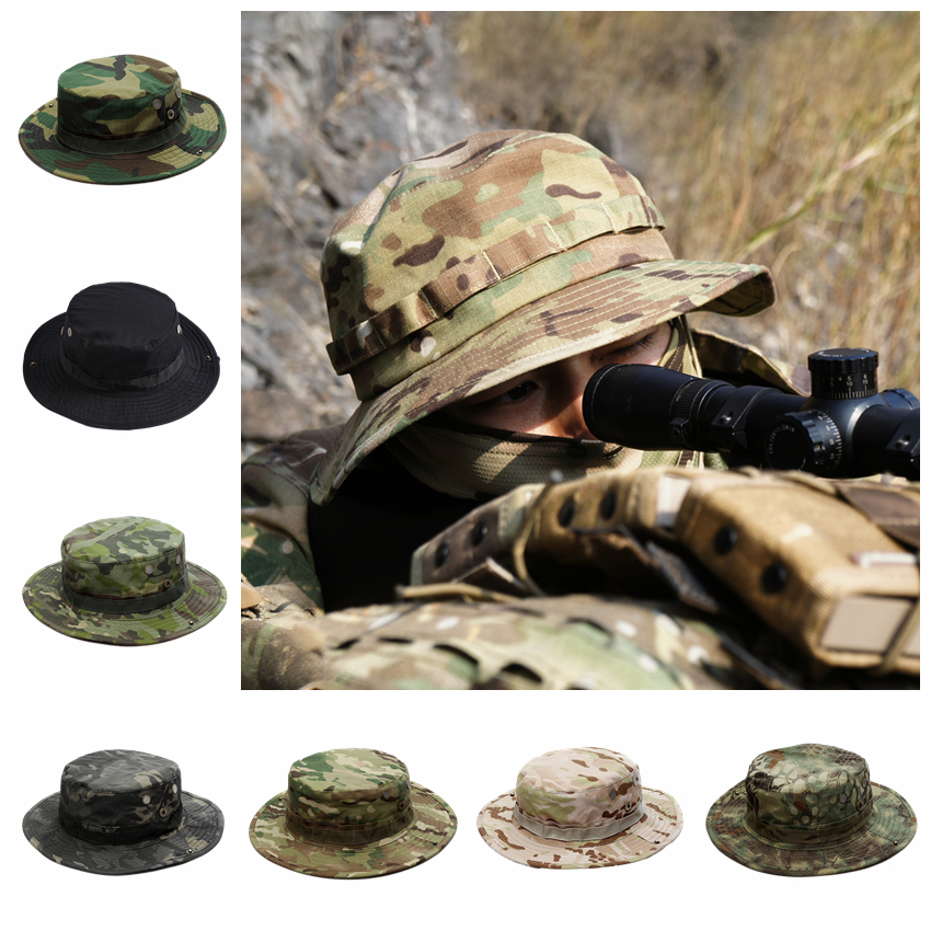 Military Tactical Cap Men Camouflage Boonie Hat Sun Protector Outdoor Paintball Airsoft Army Training Fishing Hunting Hiking Cap
