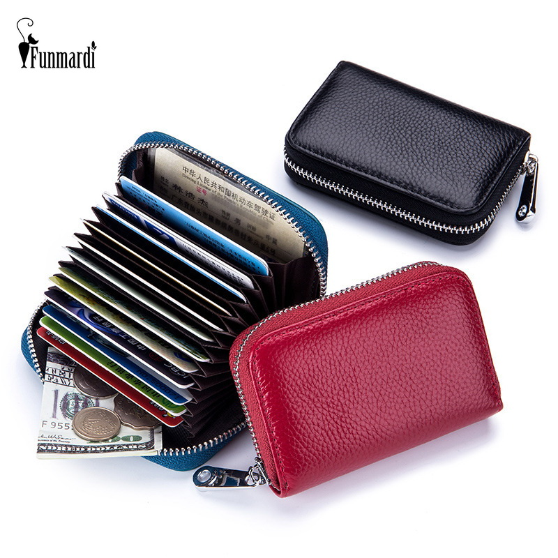FUNMARDI Genuine Leather Card Wallets Women Business RFID Credit Card Bag Men Small Wallet Leather Lady Travel Card Bag WLHB1999