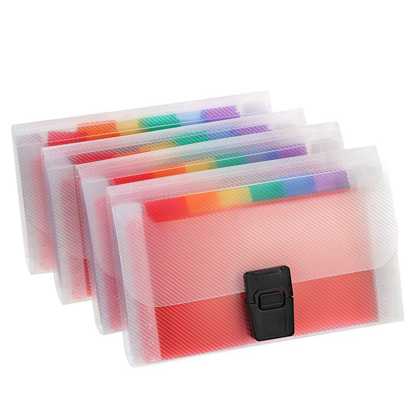 4 Pack Mini Document File A6 7.1 X 4.45 X 1.1 Inch Rainbow Expanding Folder 13 Pocket File Organizer 12 Labels Index