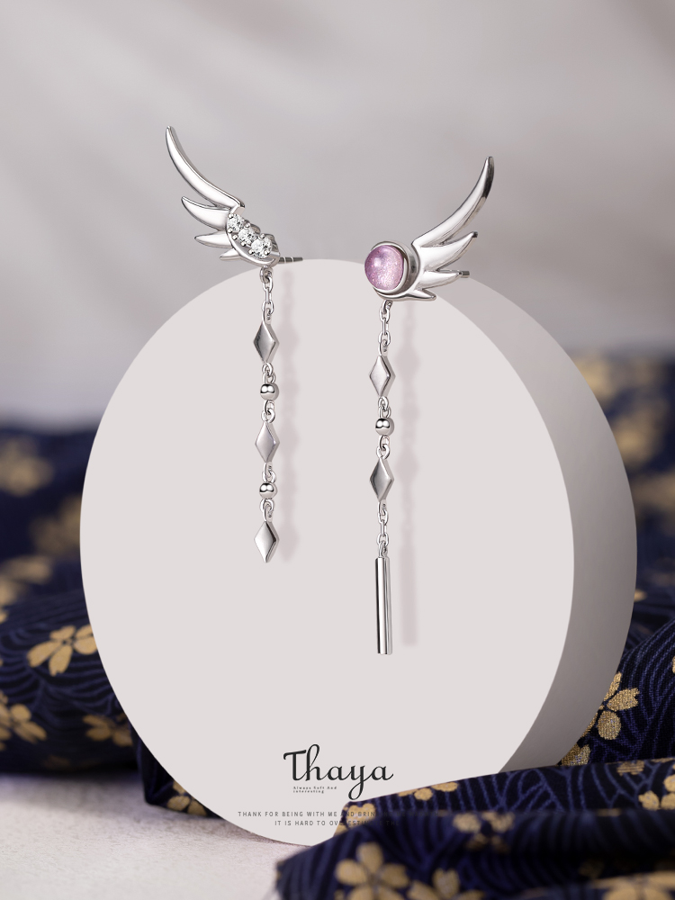 Thaya 925-Sterling-Silver Earring Tassel Japanese Dangle Real Fine-Jewely Women for High-Quality