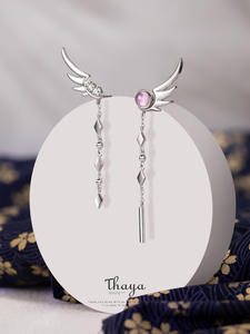 925-Sterling-Silver Earring Tassel Japanese Dangle Thaya High-Quality Real Stylish Fine-Jewely