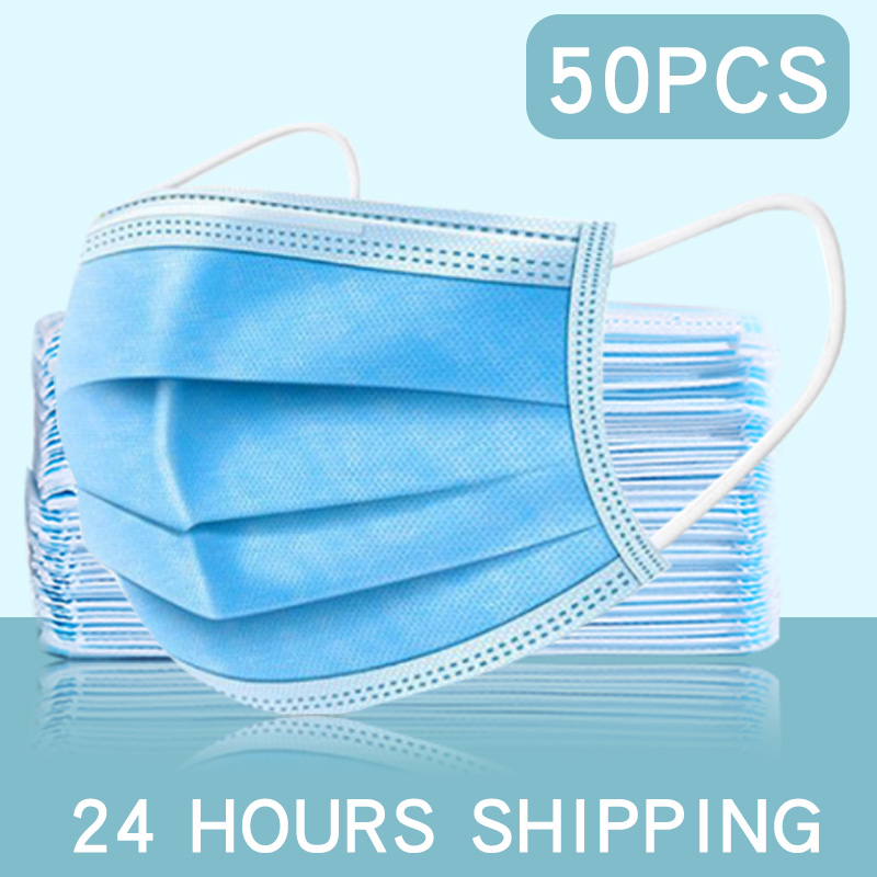 100pcs Fast Delivery Hot Sale 3-layer Mask  Face Mouth Masks Non Woven Disposable Anti-Dust Meltblown Cloth Masks Earloops Masks