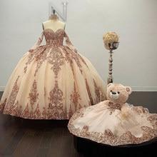 Rosa de ouro sparkly bola vestido quinceanera vestidos destacáveis mangas querida lantejoulas apliques doce 16 vestido festa wear
