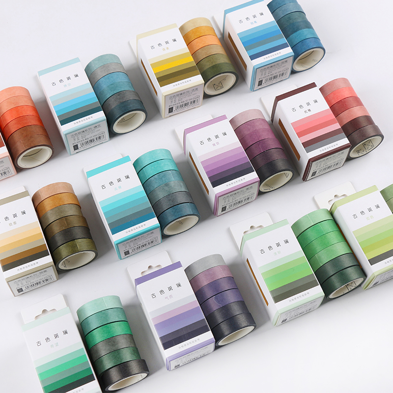 6pcs/box Vintage Solid Color Gradient Series Journal Washi Tape DIY Scrapbooking Sticker Label Masking Tape School Office Supply