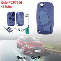 433Mhz 3 Buttons Flip Car Remote Key Fob with PCF7946 Chip Blue Fit for Fiat 500 Panda / Punto / Bravo