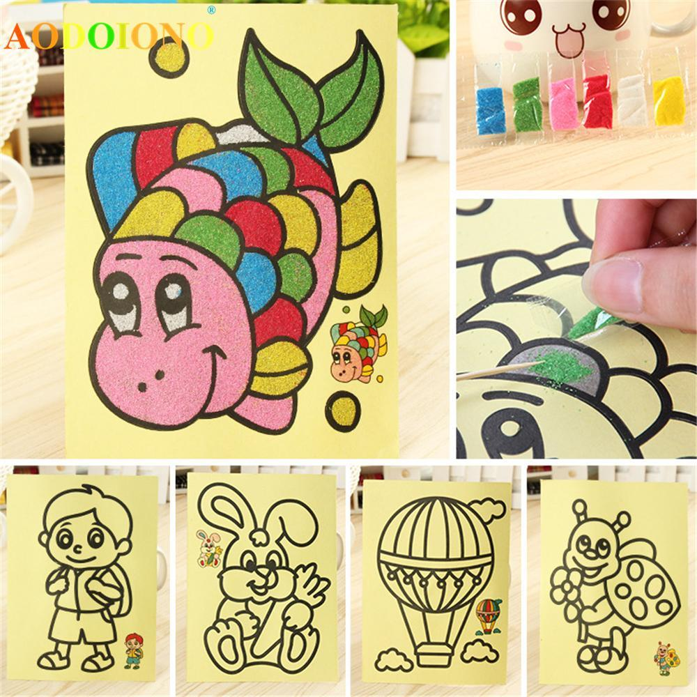 Wholesale Colored Sand Painting Drawing Toys Sand Art Kids Coloring Diy Crafts Learning Education Color Sand Art Painting Cards Craft Toys Aliexpress