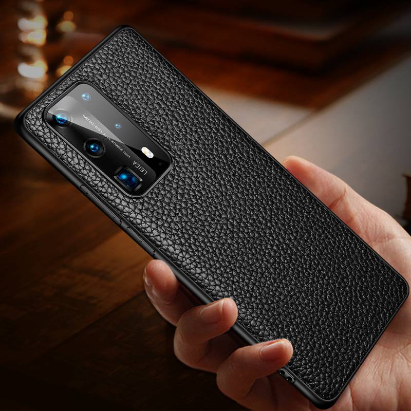 Cow Leather Case For Huawei P40 Pro P40pro Case Soft Litchi Grain Genuine Leather Case For Huawei P40 Pro Plus P 40 Cover