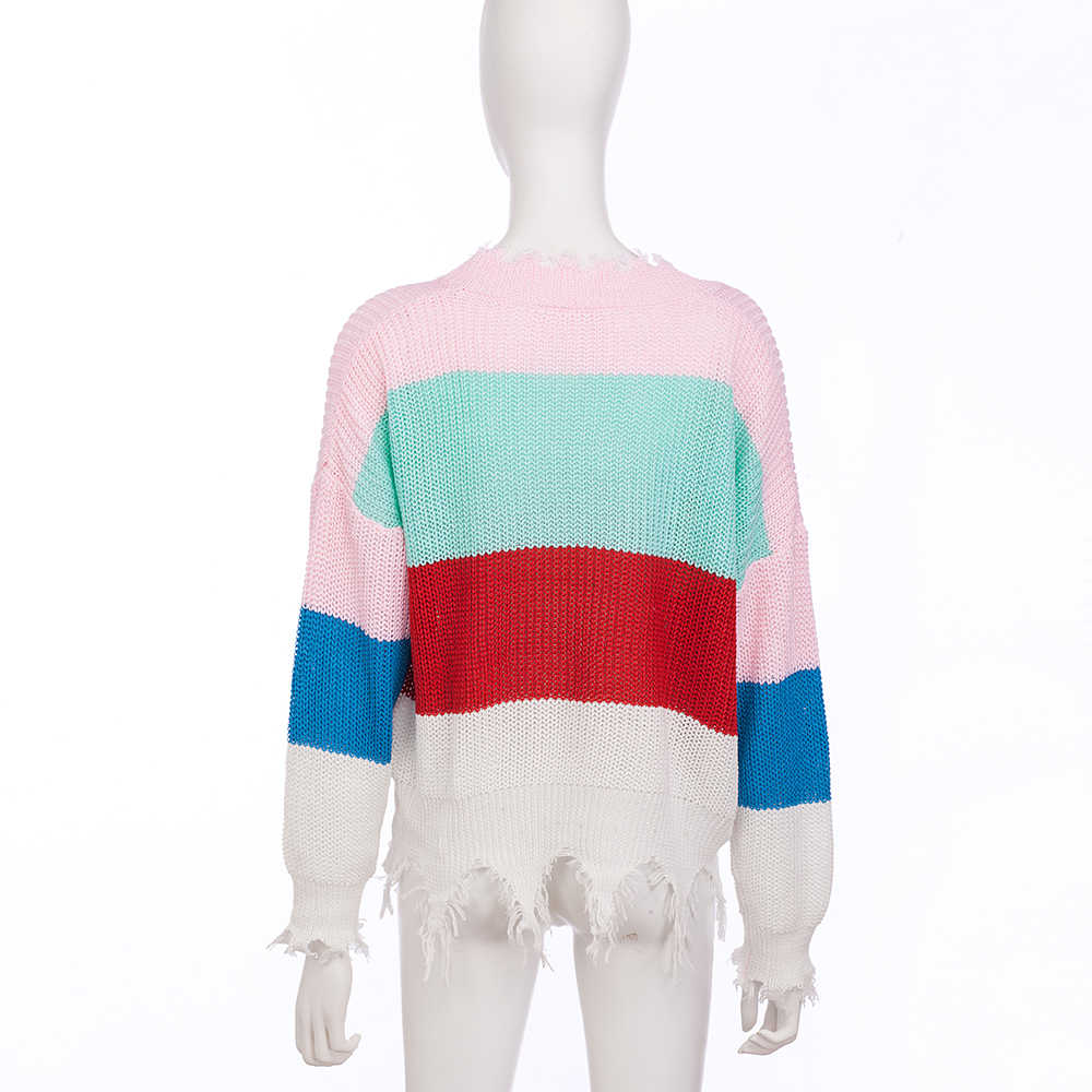 Пикантные пуловеры в разноцветную полоску для женщин с бахромой, глубокий v-образный вырез, свитер, укороченный осенний вязаный свитер с длинными рукавами и кисточками, Свободный Трикотаж