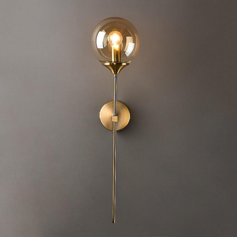 Современная стеклянная настенная лампа, креативные золотистые бра, круглая Скандинавская лампа для домашнего прикроватного столика, гости...