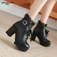 Pu Leather Warm Winter Boots Women 2019 Fashion High Heel Women Boots Lace Up Martin Boots Shoes Woman Casual Shoes Female Botas цены онлайн
