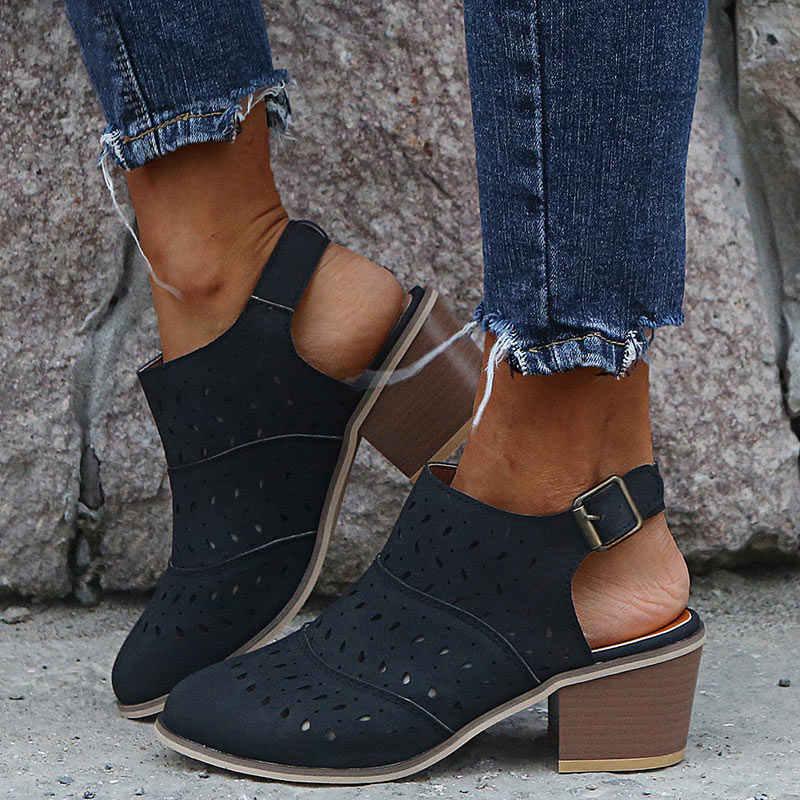 Yeni yaz kadın Retro sandalet kadınlar Cut Out toka sapanlar kadın yüksek kalın kare topuklu bayan dikiş kadın günlük ayakkabılar