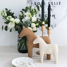 Деревянный фигурки лошадей для Декор дома с аппликацией в виде