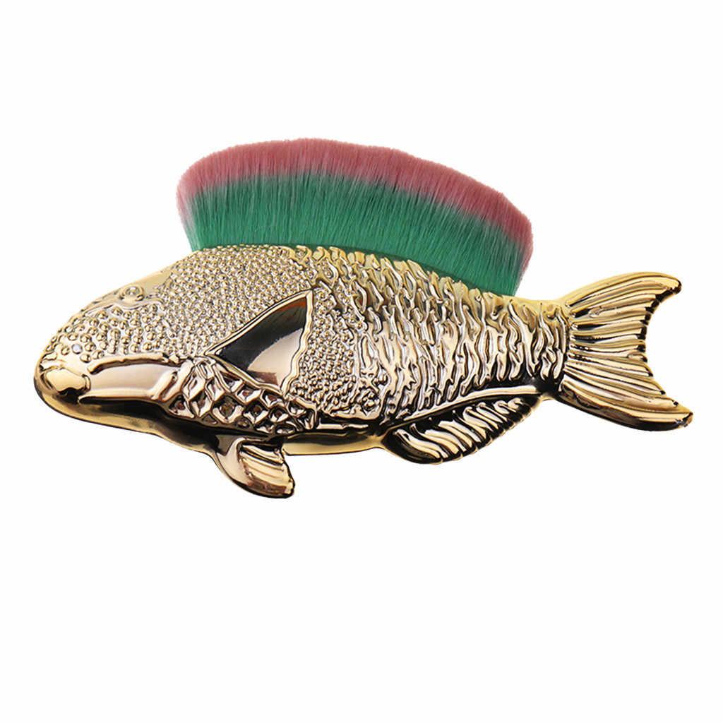 1 Buah Sikat Emas Bentuk Ikan Pembersih Alat File Nail Art Perawatan Manikur Pedikur Lembut Menghilangkan Debu Sudut sikat Bersih Alat
