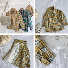 Новая клетчатая рубашка для мальчиков и девочек осенне-зимнее Модное детское пальто с длинными рукавами, размеры от 1 до 6 лет