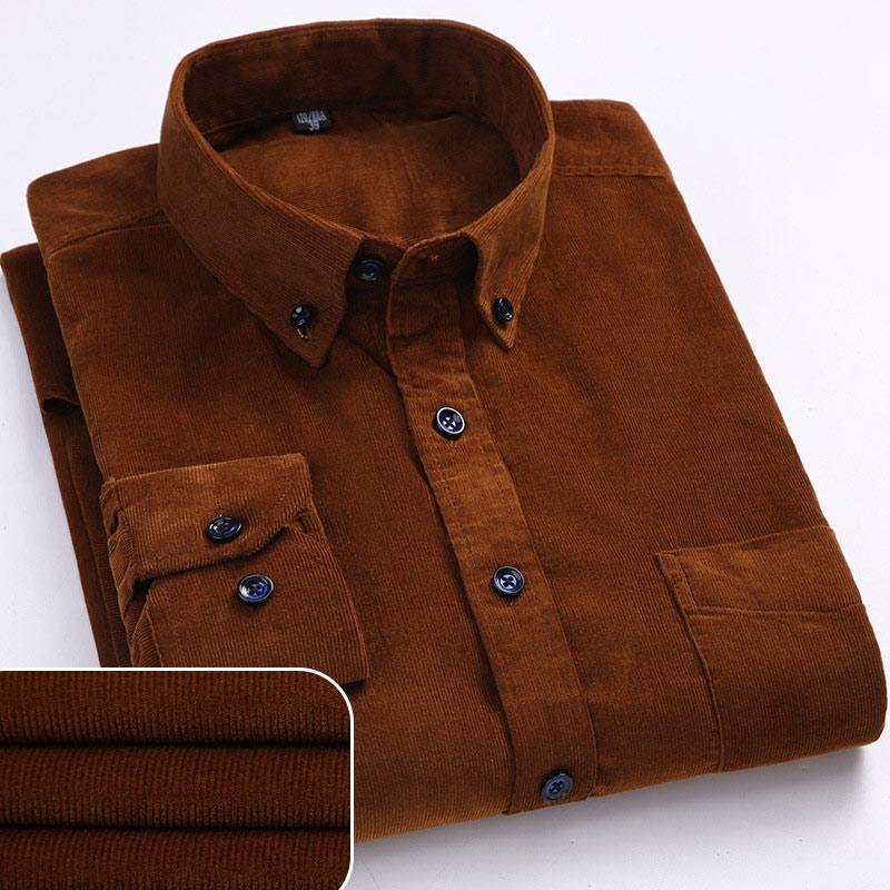 Cotton Corduroy Plus Size Men Shirt Autumn Winter Warm Quality Long Sleeve Male Shirts Turn-down Collar Solid Casual Tops Man