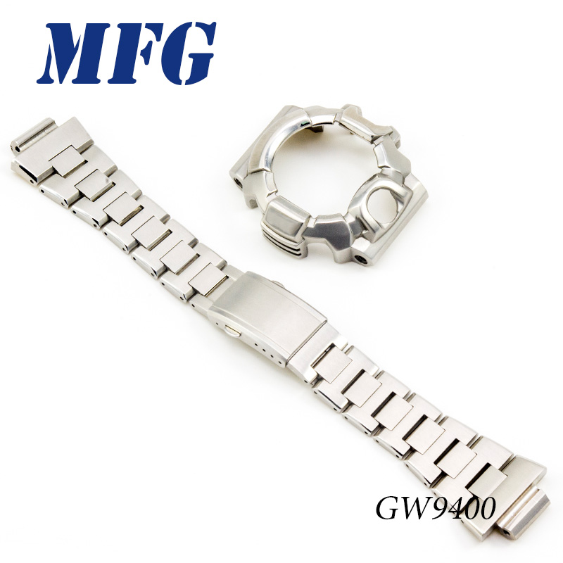 MFG Metal GW9400 Watchband Stainless Steel  Watch Bezel Case Watch Silver Gold Black Band Metal Watch Accessories Gift For Men
