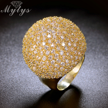 Mytys Pave Instellen Crystal Luxe Chunky Ring Bal Vorm Fashion Prachtige Hoge Kwaliteit Sieraden Nieuwe Grote Ringen R1048 R1049