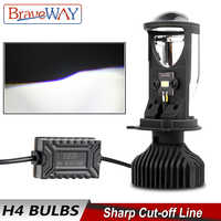 BraveWay-Mini faro proyector LED H4 para motocicleta, luz LED Mini bi-faro para lente, rediseño DIY, Luz De Carretera de estilismo para coche, haz de luces bajo