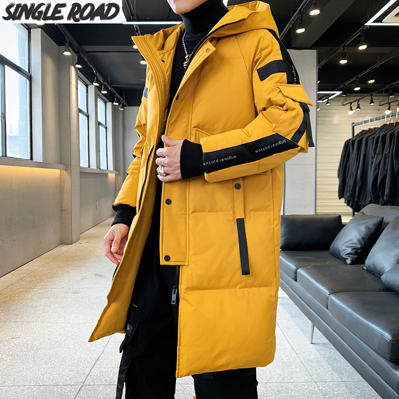 SingleRoad Down Coat Men Winter Long 2019 New Fashion Duck Down Jacket Man Duck Down Snow Windbreaker Hooded Warm Outwear Men