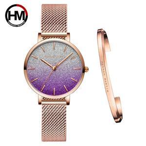 Image 2 - 送料無料 Japanischen Bewegung モード Farbe デザイン超薄型メッシュバンド防水腕章 Frauen Armbanduhr Luxus ダーメン腕時計
