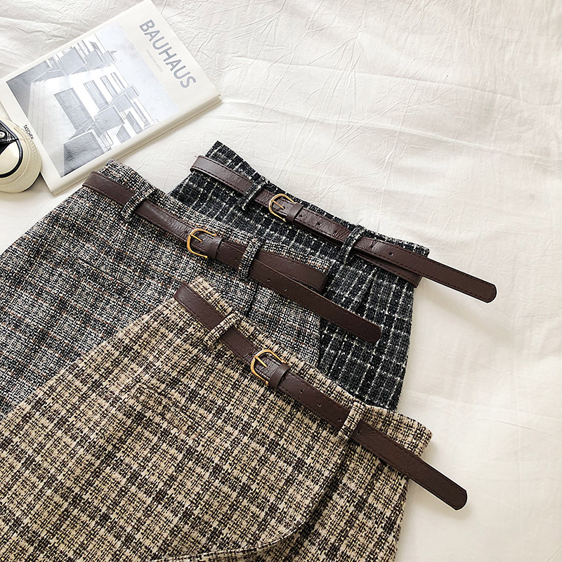 Vintage Women Plaid High Waist Mini Skirt 8