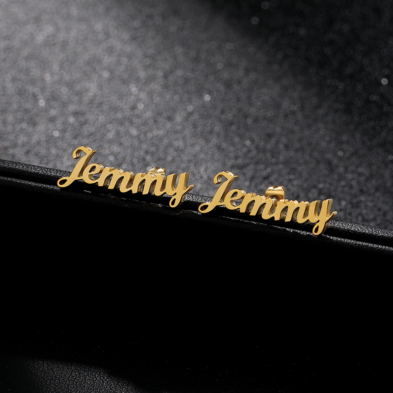 Custom Name Earrings For Women Stainless Steel Personalized Initial Cursive Nameplate Stud Earring Pendientes Aretes De Mujer