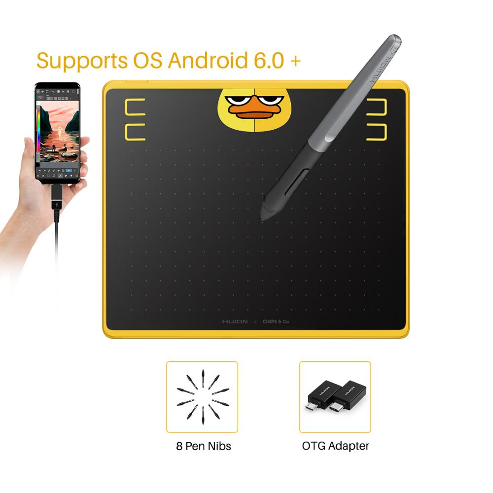 HUION HS64 Graphic Tablets Special Edition Pen Tablet with Battery-Free Stylus for Android Windows macOS